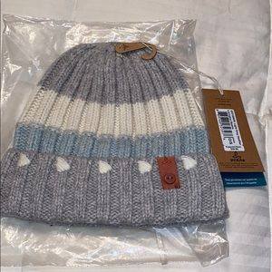 Grey, white, and light blue beanie